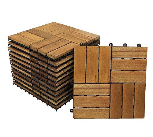 SAM Terrassenfliese 02 aus Akazien-Holz FSC 100  zertifiziert 11er Spar-Set für 1 m² Garten-Fliese in 30 x 30 cm Bodenbelag mit Drainage Klick-Fliesen für Garten Terrasse Balkon