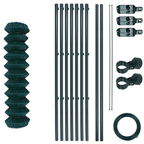 Maschendrahtzaun-Gartenzaun-Set verzinkt und grün beschichtet Maschenweite 6 x 6 cm Zaunset Drahtzaun Maschendraht Komplettset Zaun-Set 15 x 15 m