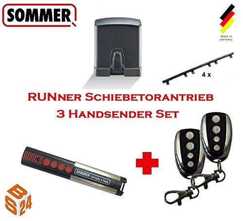 Sommer Schiebetorantrieb RUNner 3er-Set inkl 3 Handsender und 4 m Zahnstange - Torantrieb Schiebetor Toröffner Tor Antrieb