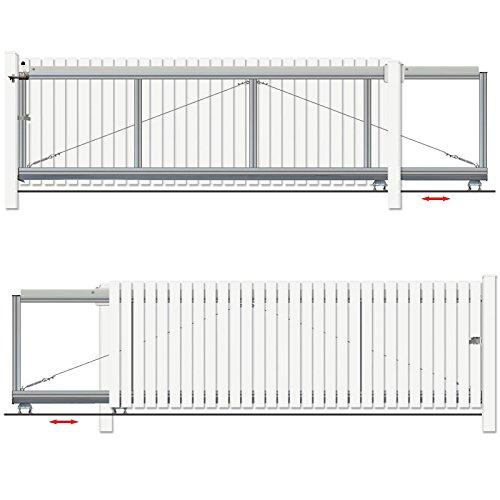 BAUER - Schiebetor Bausatz H100 B370 Freitragend Weiß