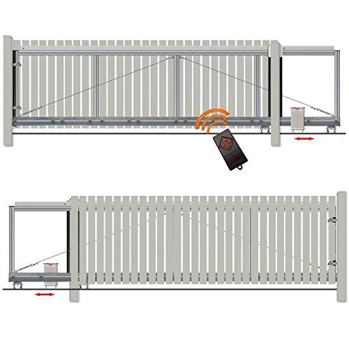 BAUER - Schiebetor Bausatz H140 B460 mit E-Antrieb Silbergrau
