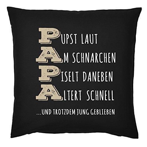 Kissen für Väter cooles Kissen mit Füllung und Urkunde Papa Pust Schnarchen… Geschenk für Papa zum Vatertag Weihnachten Geburtstag
