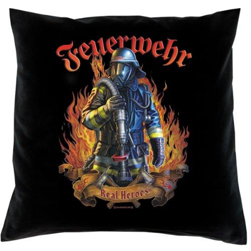 Kissen mit Innenkissen - FFW - Feuerwehr - Real Heroes - mit 40 x 40 cm - in schwarz