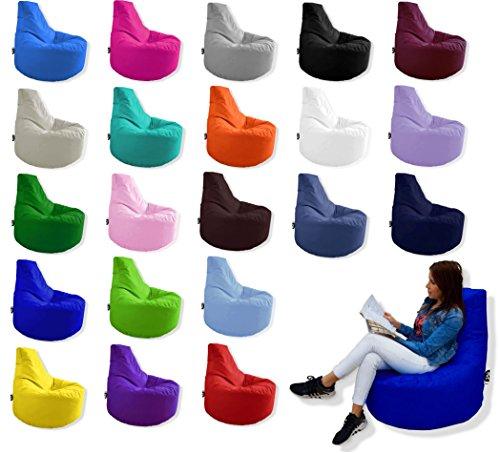 Patchhome Gamer Kissen Lounge Kissen Sitzsack Sessel Sitzkissen In Outdoor geeignet fertig befüllt  Schwarz - Ø 75cm x Höhe 80cm - in 2 Größen und 25 Farben