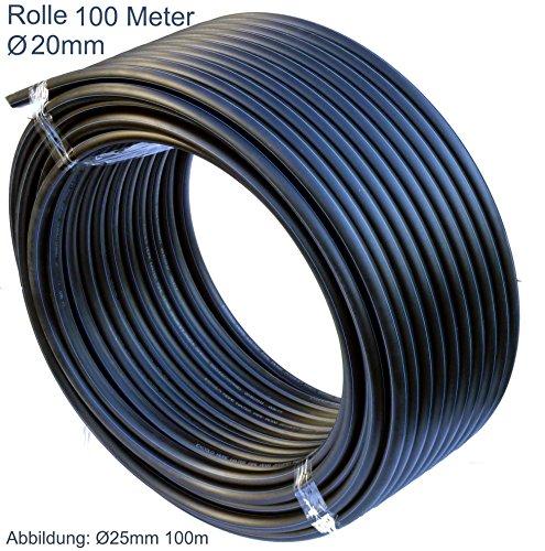 EXCOLO PE-HD Rohr Wasserrohr Wasser Leitung Kunststoffrohr Bewässerung Wasser Rohre schwarz 20mm x 100Meter