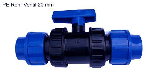 EXCOLO PE Rohr Kugelhahn 20 bis 40 mm Kunststoff Hahn Absperrhahn Sperrschieber Kugelventil Ventil 2 Wege Für 20 mm PE Rohr