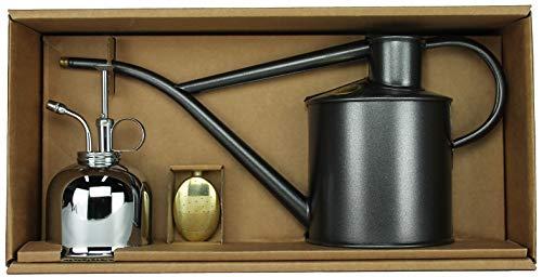 Haws Zimmergießkanne Anthrazit 1 L und Pflanzensprüher Nickel 300 ml im Geschenk Set