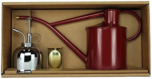Haws Zimmergießkanne Burgunder Rot 1 L und Pflanzensprüher Nickel 300 ml im Geschenk Set