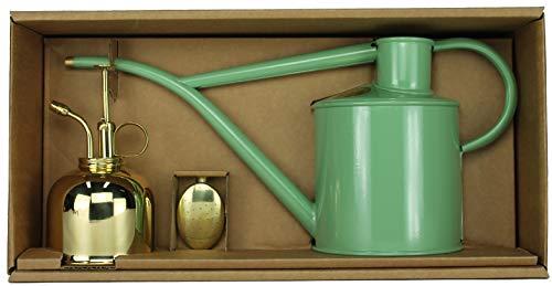 Haws Zimmergießkanne Lindgrün Hellgrün 1 L und Pflanzensprüher Messing 300 ml im Geschenk Set