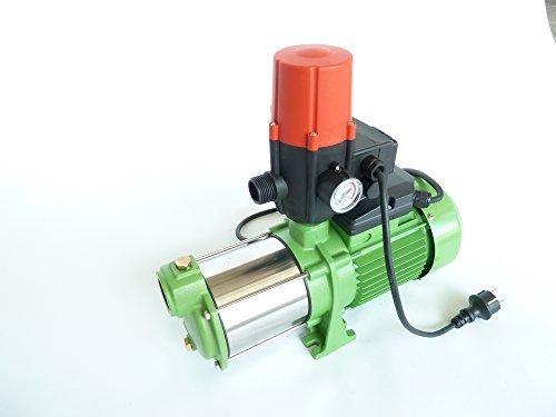 Leistungsstarke Gartenpumpe IBO MH1300 INOX 1300Watt - Förderleistung 6000 lh - 55 bar integrierter thermischer Schutzschalter robuste und rostfreie Edelstahlwelle  Pumpensteuerung BRIO SK-13 mit Trockenlaufschutz und Manometer  Rückschlagventil