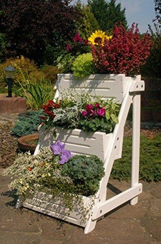 Blumentreppe Blumenleiter Pflanztreppe Pflanzleiter aus Holz vollständig behandelt weiß
