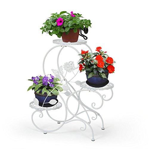 HLC 3 Töpf Metall Blumenständer Blumentreppe PflanzerS-förmig Weiß