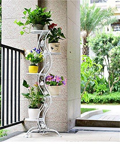 LIQICAI Blumenständer Blumentreppe European-Stil Eisen Blumentopf Regal Blumentopf Rack Wohnzimmer Balkon Mehrgeschossige Blumentopf Halter Anzeige Pflanzentreppe  Farbe  Weiß