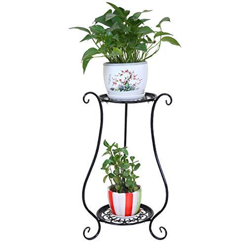 Tosbess Blumenregal Metall 2-stöckig Pflanzentreppe Pflanzen Dekorativ für Topfpflanzen Balkon-Deko60cm Hoch