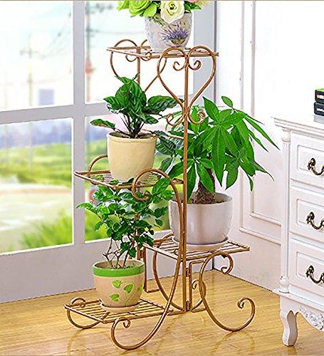 YANZHEN Europäische - Stil Eisen Blumentopf Rack Fünf - Story Wohnzimmer Balkon Blumentöpfe Regal Blumenregal Pflanzentreppe  Farbe  Messing  größe  80cm