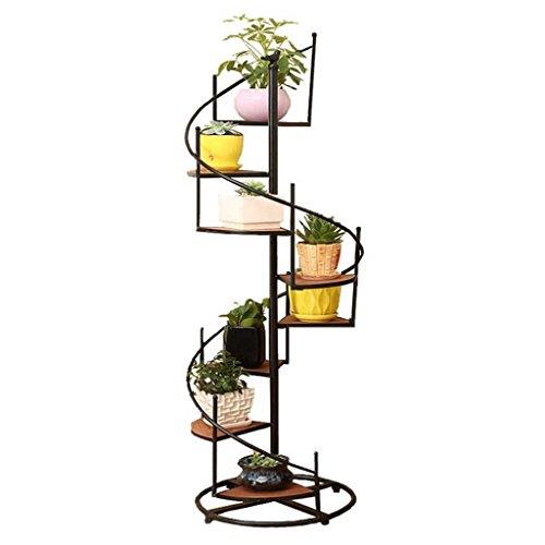 8-Stufen Blumenregal Pflanzenständer - Holz blumenständer im Innen Freien als Aufbewahrungsständer für Blumenpflanzen - Schwarzes Metall blumenregal im GartenTerrasse  BalkonWohnzimmer