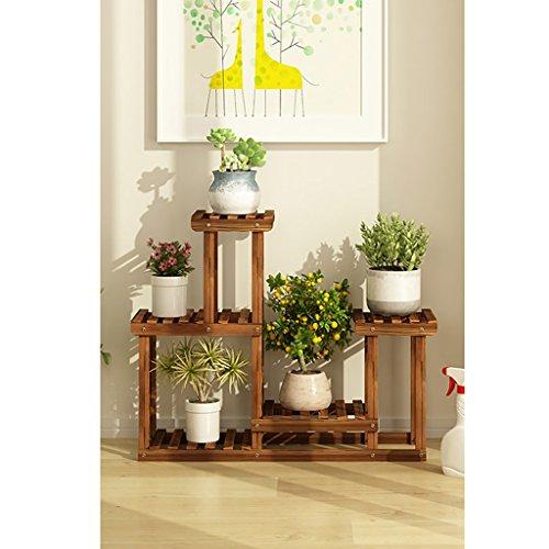 JHhuajia Blumentreppe aus Holz Blumenständer für Innen Mehrstöckig Blumenregal Blumenständer Blumenleiter Pflanzentreppe Pflanzenständer Farbe  B1