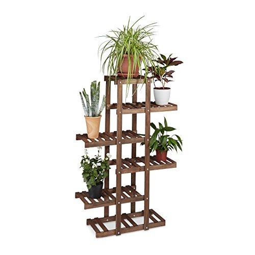 Relaxdays Blumenregal aus Holz 5 Ebenen Blumenständer für innen Mehrstöckig HBT ca 125 x 81 x 25 cm dunkelbraun