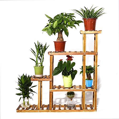 unho Blumenregal Blumentreppe aus Holz mit 5 Ebenen Pflanzentreppe für Innen-Balkon Wohzimmer Outdoor Garten Terasse Dekor Blumenständer 95 x 25 x 965cm