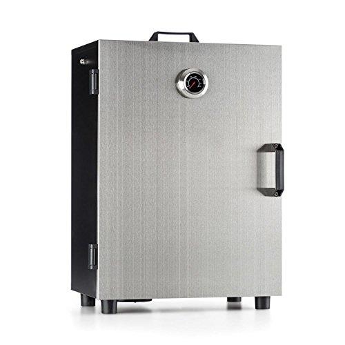 Klarstein • Flintstone Steel • Räucherofen • Räucherschrank • Smoker • tragbar mit Cool-Touch-Griff • elektrisch • 800 Watt • 3 Räucherroste • 3 Haken zum Aufhängen von Räucherware • Edelstahl