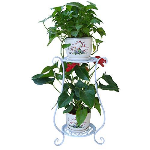 DYFO Blumenregal 2 Etagen Metall Blumenständer Blumentreppe Dekorativ für HausGartenTerrasse -Weiß