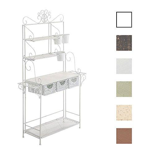 CLP XL-Pflanzenregal SHINE I Blumenregal mit 4 Ablageflächen und extra Halterungen für Blumentöpfe I In verschiedenen Farben erhältlich Weiß