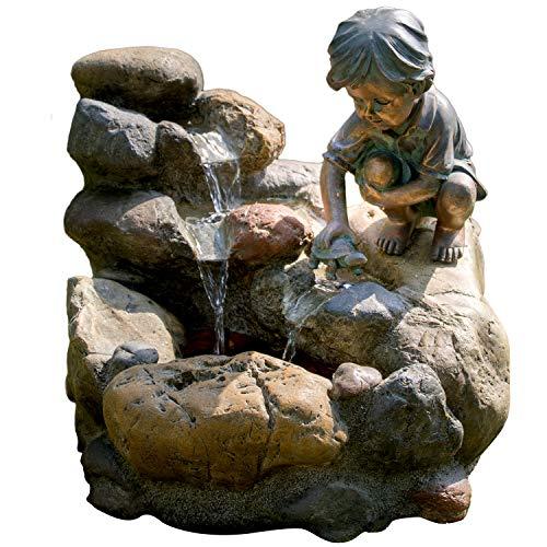 KÖHKO Wasserspiel Kinderspiel mit LED-Beleuchtung Gartenbrunnen Springbrunnen Brunnen für Außen und Innen