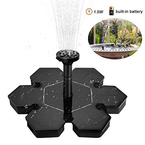JMM Verbesserte Version Solar Springbrunnen15W Batterie Solar Brunnenpumpe mit 7 Verschiedenen Brunnendüsen für Vogeltränke Aquarium Teich Gartenschwarz mit Batterie