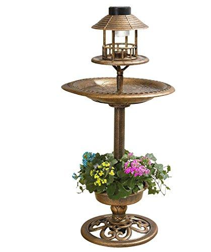 Solar-betriebene Vogelfutterstation Vogeltränke für den Garten Vögel Futterstation und Vogelbad mit Licht-Ornament für den Tisch