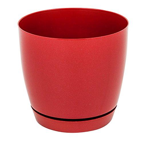 Blumentopf inkl Untersetzer Pflanztopf Toscana Serie rot D 22 cm Glanz PP Kunststoff