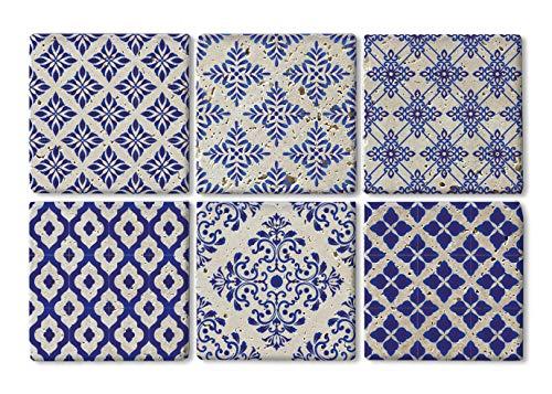 Queence  Design-Untersetzer aus Naturstein  edle Dekorative Stein-Untersetzer  für Gläser  Coaster  6-teilig  Untersetzer-Set  Vintage Look  Blau Fliesenmuster  Größe 10x10 cm