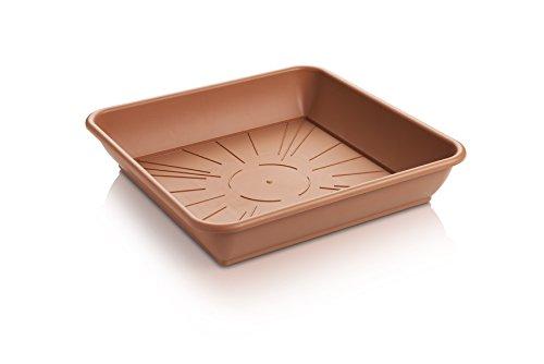 Erhard-Trading Blumentopf-Untersetzer Quattro Eckig Terracotta Quadratisch aus Kunststoff Gr 3