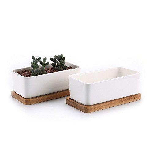 T4U 165CM Recheckig Keramik Sukkulenten Töpfe Kaktus Pflanze Töpfe klein Blumentöpfe mit Bambusuntersetzer Weiß 2er Set