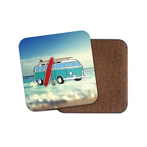 Camper Van Surf Surfer Kork Getränke Untersetzer für Tee Kaffee  4074 holz 3 Coaster