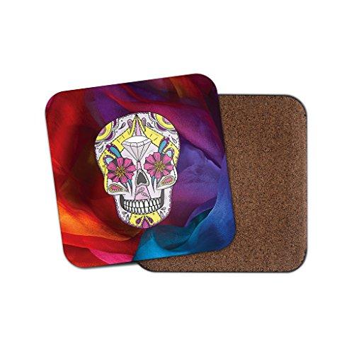 Sugar Skull Flower Art Getränke Untersetzer mit Unterseite aus Kork für Tee Kaffee  4033 holz 1 Coaster