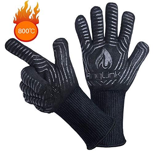 AngLink Grillhandschuhe BBQ Handschuhe bis zu 800°C 1 Paar Rutschfeste Hitzebeständiger Handschuhe mit Silikon Ofenhandschuhe Topfhandschuhe Backhandschuhe für Grill Kochen Backen und Schweißen 33CM