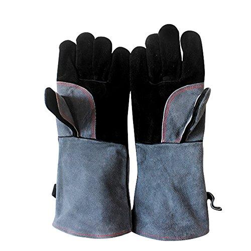 PET SPPTIES Leder Grill Handschuhe Hitzebeständiger Handschuh für BBQ Kamin Backofen Gasgrill und Holzkohlengrill ST015 Schwarz Grau