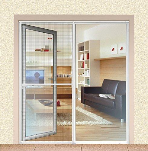 1PLUS Insektenschutz Alu Spannrahmen System premium Schiebetür 120 x 240 cm in verschiedenen Farben verfügbar Weiß
