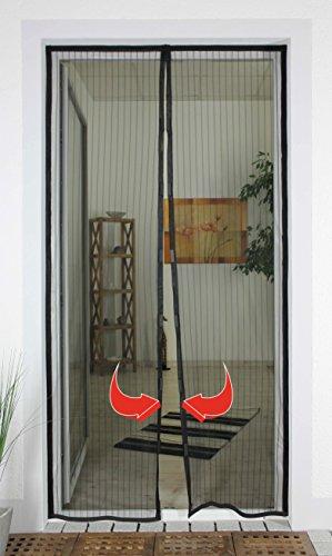 1PLUS Insektenschutz Fliegengitter Magnetvorhang für Türen bis 100 x 220 cm individuell kürzbar Anthrazit