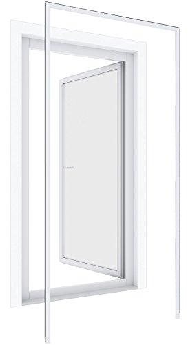 Windhager Insektenschutz Montagerahmen Premium bohrfrei Insektenschutzrahmen Fenster Türen montieren individuell kürzbar 125 x 245cm weiß 03858