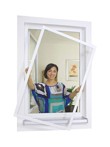 1PLUS Insektenschutz Alu Spannrahmen System premium für Fenster in verschiedenen Größen und Farben verfügbar - ohne Bohren montierbar 120 x 150 cm Anthrazit