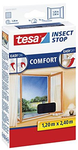 3 Stück tesa Insect Stop COMFORT Fliegengitter für Fenster  Insektenschutz mit selbstklebendem Klettband in Anthrazit  120 cm x 240 cm