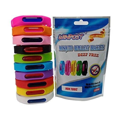 WINPOST 2 Pack Stück Mückenschutz Anti Moskito Insektenschutz Armband - Frei von DEET 100 Natürliches Mücken Armband Für Outdoor und Innenschutz Black