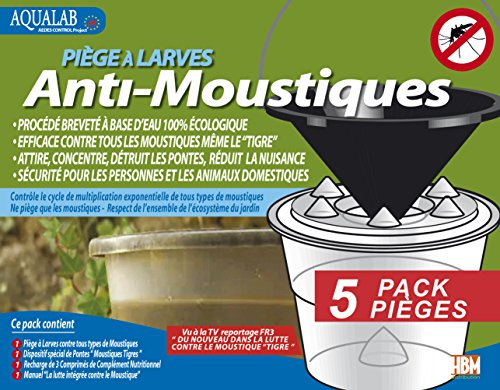 Aqualab MoustiqueSolutions Pack 5  Fallen für Moskito-Larven transparent 21 x 22 x 22 cm 5 Stück