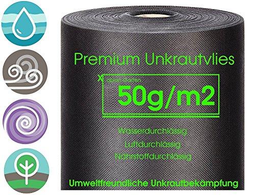 Xabian Anti Unkrautvlies 50gm² Gartenvlies ROLLE 50m x 1m  50m²  Unkrautfolie sehr hohe UV-Stabilisierung - reißfest und wasserdurchlässig