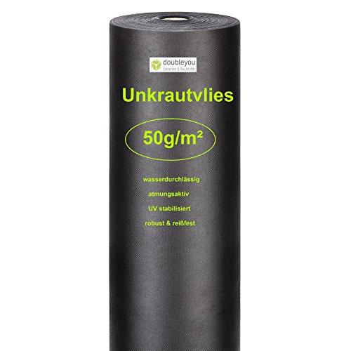 Doubleyou Gartenvlies 48m² 30m x 16m  Anti Unkrautvlies - hohe UV-Stabilisierung  50gm² reißfest und wasserdurchlässig