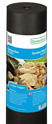 GardenMate 1mx25m Rolle 125gm² Hydro Premium Gartenvlies mit sehr hoher Wasserdurchlässigkeit - Unkrautvlies Extrem Reißfestes Unkrautschutzvlies - Hohe UV-Stabilisierung - 1mx25m25m²