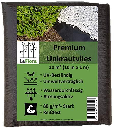 LaFlora - Premium Unkrautvlies 80 gm² - 10 m² Gartenvlies wasserdurchlässig und reißfest - bekämpft Unkraut langfristig ohne Chemie - Pflanzenvlies für Ihren Garten und Blumenbeet
