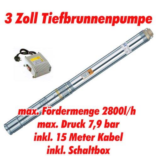 Agora-Tec AT- 3 Brunnenpumpe 550W mit 15 m Kabel Edelstahl-Tiefbrunnenpumpe mit max 79 bar 3200lh