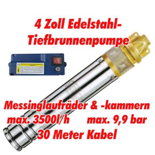 Agora-Tec AT- 4 Brunnenpumpe 1100W mit 30 m Kabel Edelstahl-Tiefbrunnenpumpe mit Messinglaufrädern und max 99 bar max 3000 lh